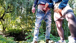 I helped a stranger to cum outdoors