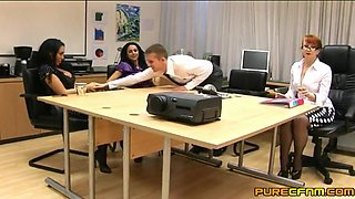 Double handjob and blowjob by Louise Jenson and Rio Lee. HD