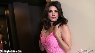 SunnyLeone Sunny Leone in her pretty little pink dress