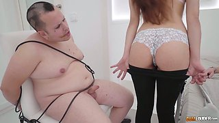 Bitchy milf Angie White is cheating her cuckold husband and arranges dirty group orgy