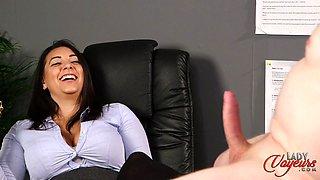 Naughty secretary watches her horny boss masturbating