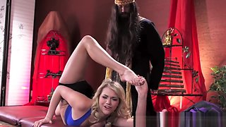 Cute flexible girl plowed by the yoga teacher