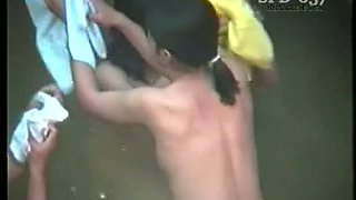 Amateur dark haired Japanese chicks wash boobs and butts in public bath