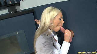 Ava gets her pussy pounded through the glory hole as the