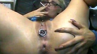 Pierced smoking blonde plays