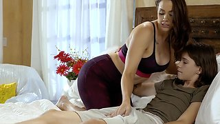 Pornstar Chanel Preston with big fake tits fucked by a younger guy