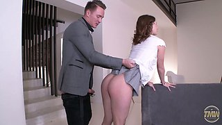 Alluring brunette in nylon pantyhose and short skirt gives a terrific blowjob