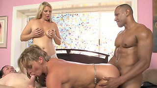 Blonde sluts Phyllisha Anne and Jordan Kingsley fucked hard in foursome