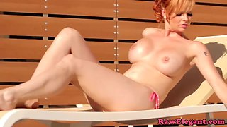 busty ginger babe toys pussy and ass solo