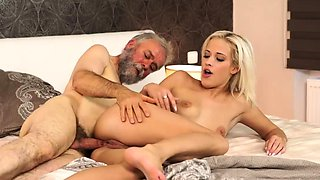 Old couple young threesome and man have sex with girl