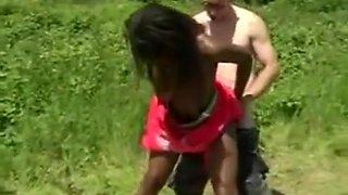 White Man Ass Fucks African Hottie Outdoors Hard