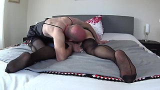 Mature couple nylon sissy play 3
