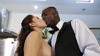 Interracial couple hot sex in kitchen