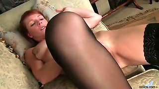 Redhead mom new to porn seductively strips down to nothing