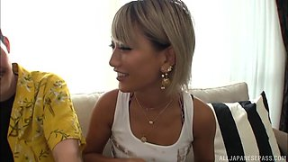 Skillful blonde Aika seduce a guy with her sexual abilities