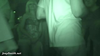 Upskirt flashing in a club with Jeny Smith. Hidden camera