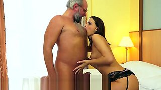GrandpasFuckTeens Passion in the Bed with Experienced Dick
