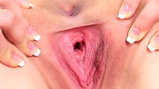 Kinky czech nympho spreads her tight twat to the extreme