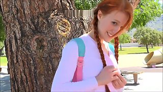 Ginger Schoolgirl in Hello Kitty Dress Masturbates at Outdoor Play Ground