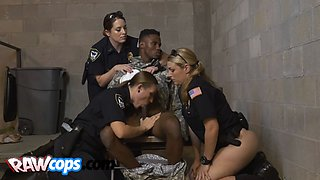 Black soldier gets abused by three hot female cops