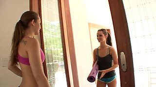 Sporty brunettes fuck indoors after yoga session