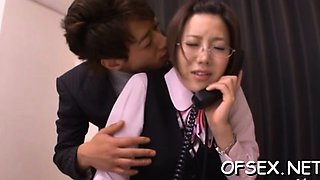 Slutty secretary has pleasure with her boss in the office