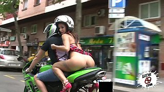 Pantless slut in super short skirt Susy Gala is riding a motorcycle before crazy sex