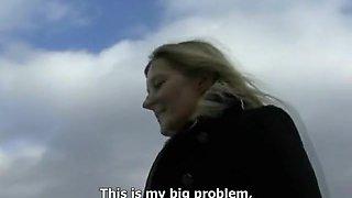 Blonde Czech MILF Jitka slobbers on a big pecker