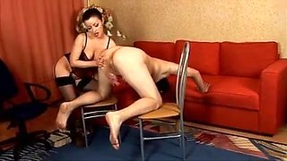 Domina ballbusting. I don't know the Russian