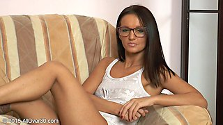 Naughty nerd has a sexy clit ring