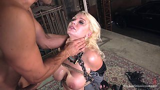 Tied up and blindfolded slave fucks with master
