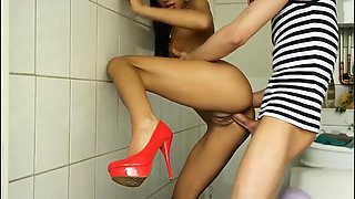 Slender brunette teen in high heels gets nailed doggystyle