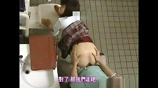 Secret sex with secretary teacher secretly in the public toilet of the park