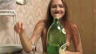 Drunk girlie Natalie is taking off her clothes for masturbation