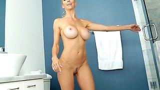 Hot MILF fuck Alexis Fawx shower scene big tits for big schlong
