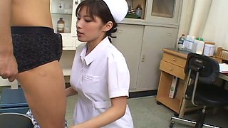 Nasty Asian nurse Riko Tachibana treats her patient with blowjob