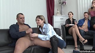 Brunette newbie confesses that shes never been choked during sex