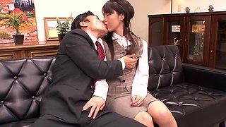 Crazy Japanese chick Hikaru Ayuhara in Exotic Secretary, Cunnilingus JAV movie