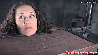 bdsm sub dominated in pillory by her maledom