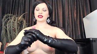 Mistress Ana Smoke.Gloves Handjob,Spity Bj