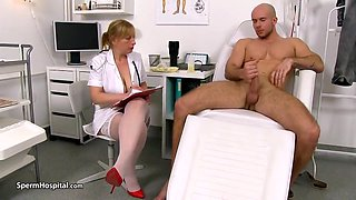 Blonde British doctor with massive tits is using her deep throat to make her patients feel good