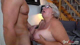 AGEDLOVE Big Beautiful Grandma Babet Got Laid By Handy Jason Storm