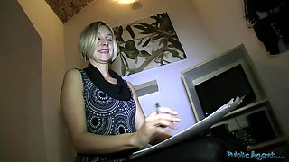 Cute blonde undressed in front of the cam at the casting