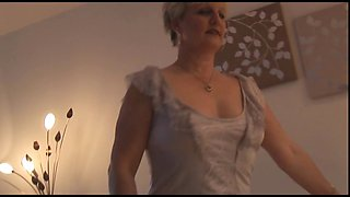 Attractive Mature milf in tight dress and pantyhose strips