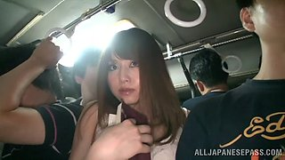Noa lets a dude rub his dick agaist her cunt in a crowded bus