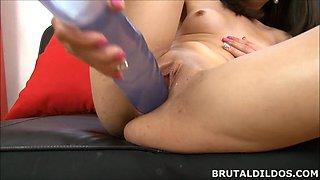Big purple dildo insertion