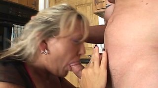 Young stud doggy fucks mature blond haired mommy hard