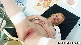 Naughty nurse bitch with natural big playmate boobs