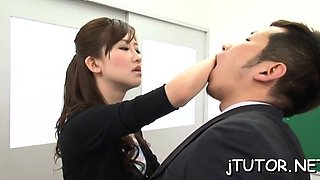 Teacher gets on her knees and gives steamy oral stimulation