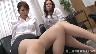 Hot Japanese MILFs Giving A Nasty Foot Job And Handjob